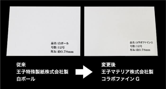 従来:王子特種製紙株式会社製白ボール → 変更後:王子マテリア株式会社製コラボファインG
